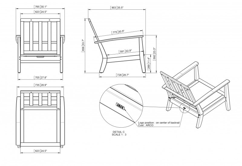 img DEEP SEATING RECLINING CHAIR REF. 181